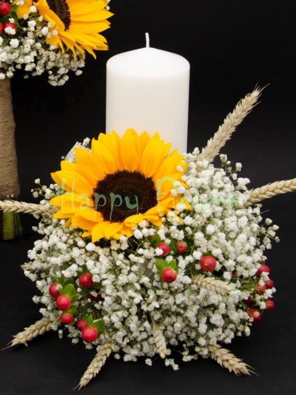 Lumanare scurta floarea soarelui, floarea miresei, hypericum rosu, spice de grau