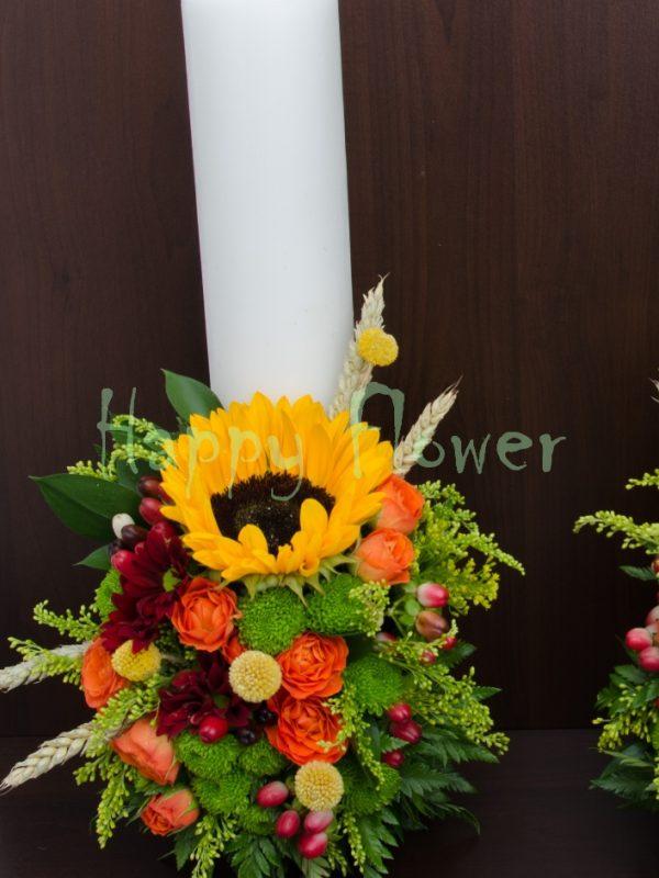 Lumanari scurte nunta floarea soarelui si flori de camp