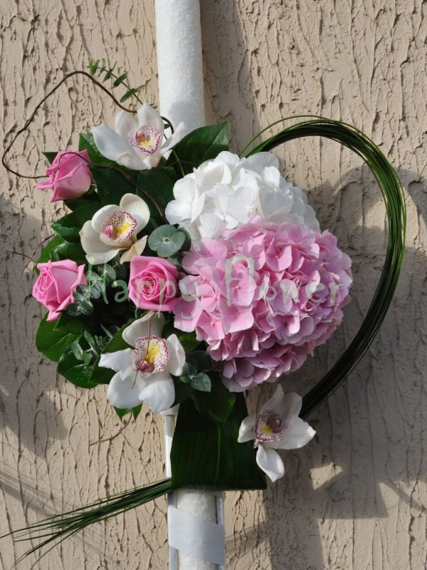 Lumanari cununie hortensii si trandafiri, orhidee