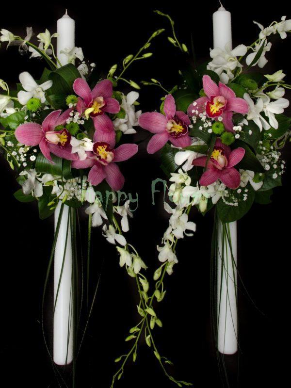 Lumanare nunta orhidee dendrobium alb, orhidee cymbidium grena