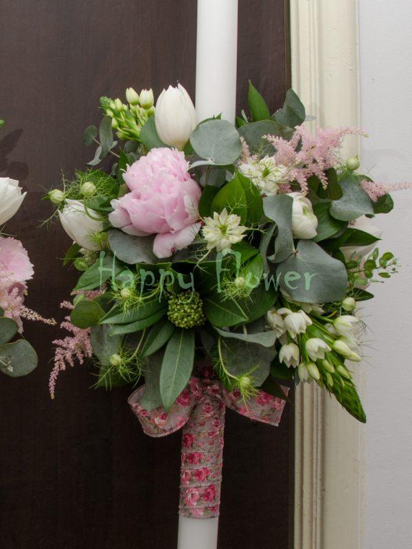 Lumanare cununie bujori roz, ornitogalum, lalele, astilbe roz, eucalipt