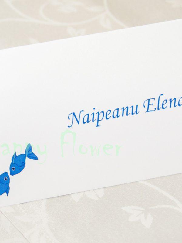Plic bani nunta tema marina Blue Fish