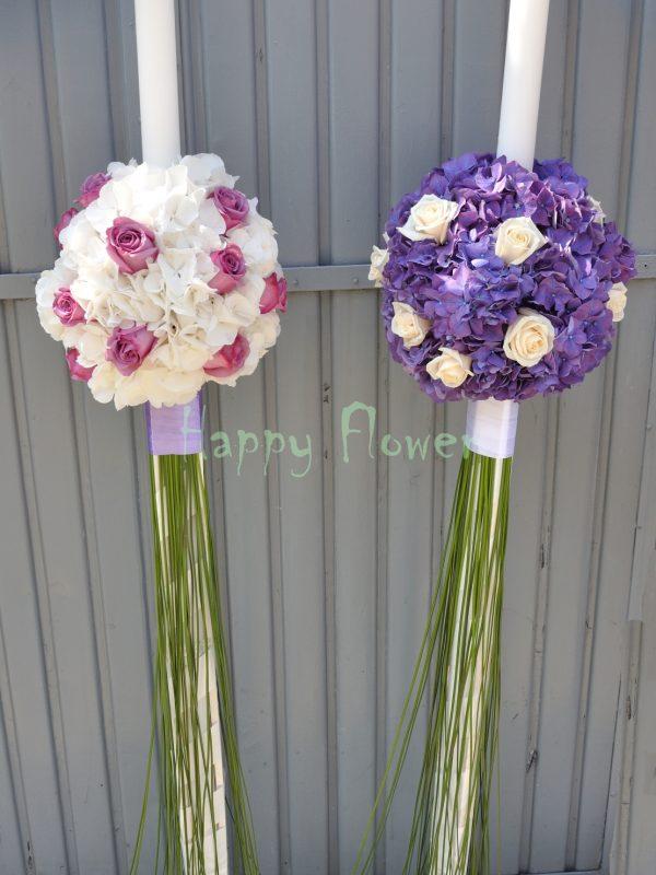 Lumanari nunta hortensii si trandafiri, stillgrass pe coada