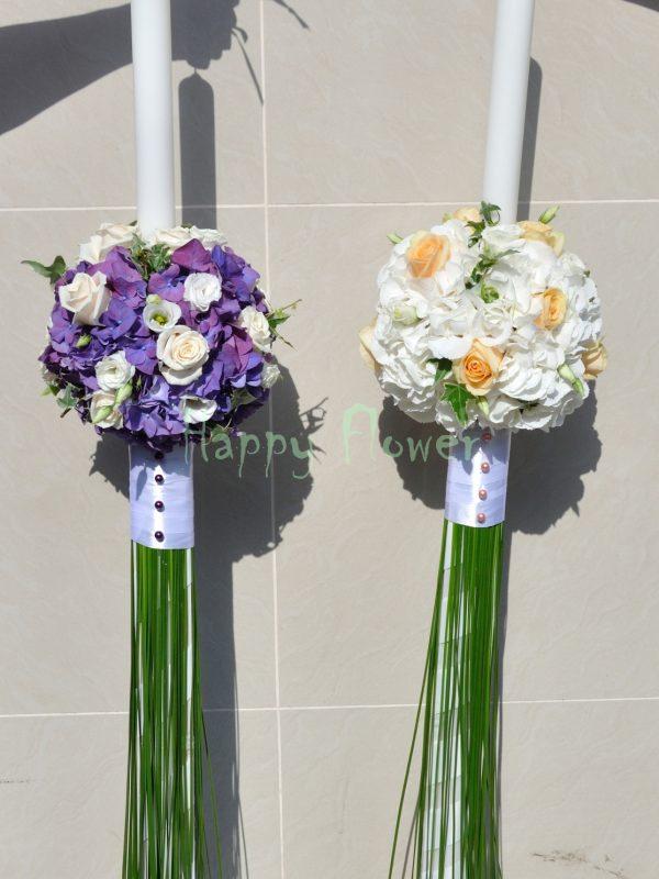 Lumanari nunta hortensii si trandafiri