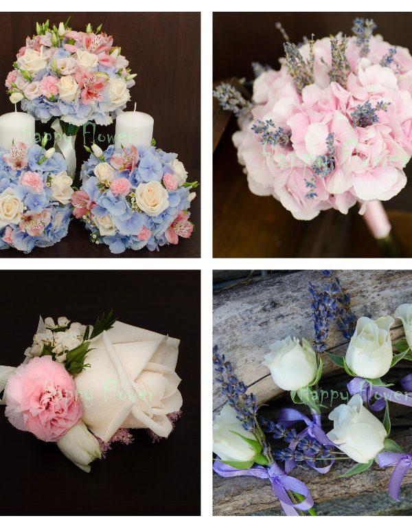 Pachet flori nunta pastel 1