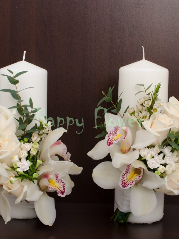 Lumanari cununie orhidee alba si trandafiri, bouvardia