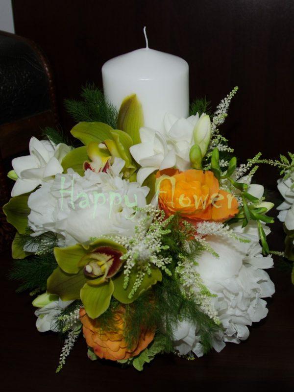 Lumanari cununie orhidee verde, bujori albi, trandafiri portocalii
