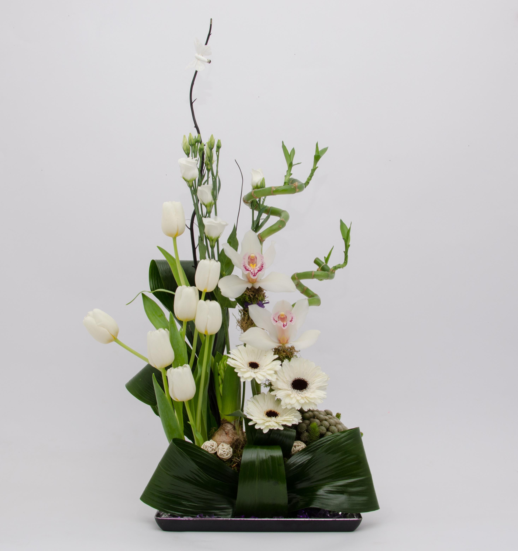 Aranjament Floral Cu Gerbere Lalele Orhidee Happy Flower