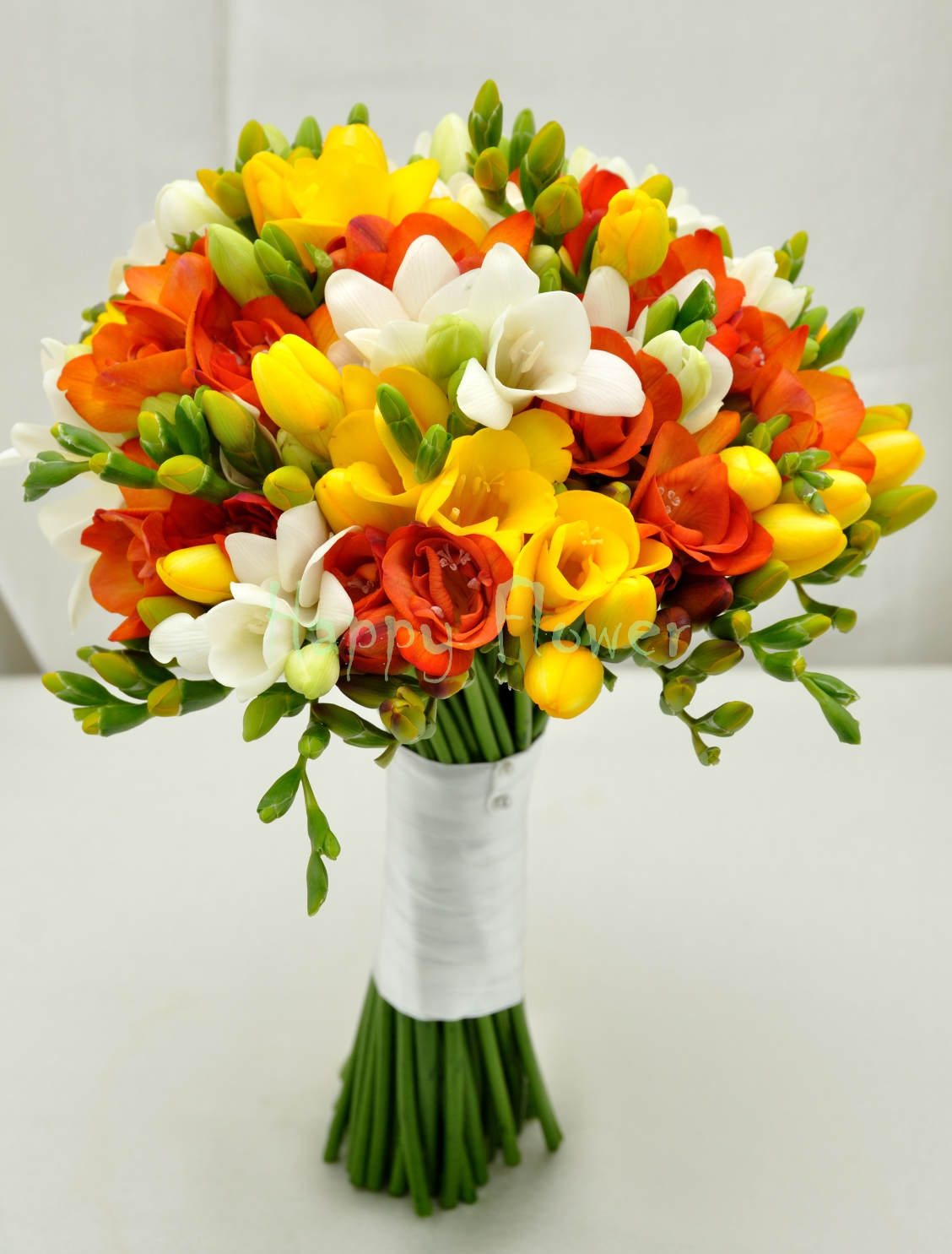 Buchet Mireasa Nasa Frezii Colorate Happy Flower Florarie Online