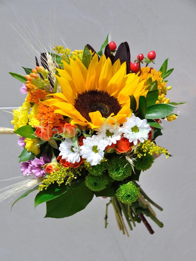 Buchet Mireasa Din Floarea Soarelui Si Flori De Camp Happy Flower