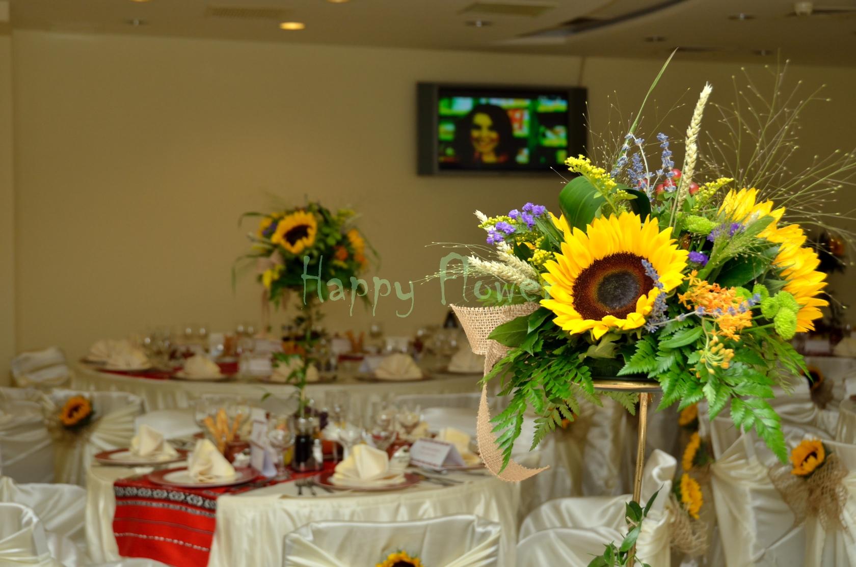 Aranjamente Florale Cu Floarea Soarelui Si Spice De Grau Fundita