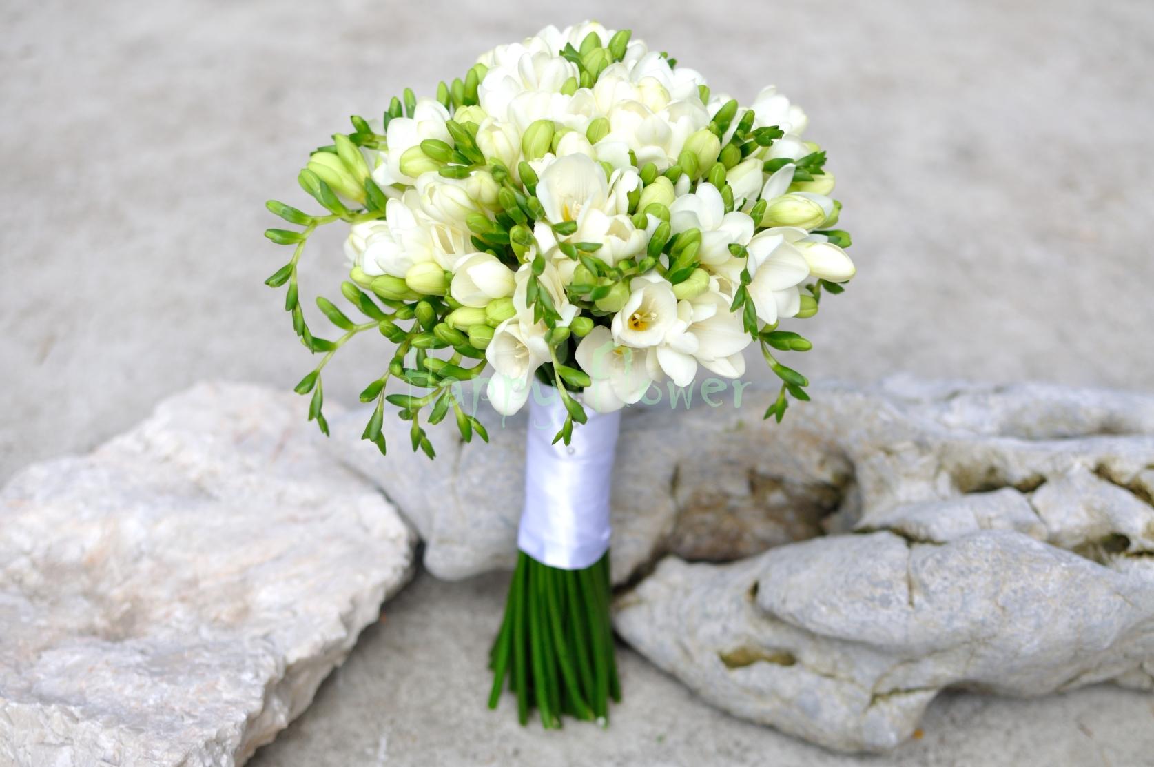 Buchet Mireasa Frezii Albe Happy Flower Florarie Online