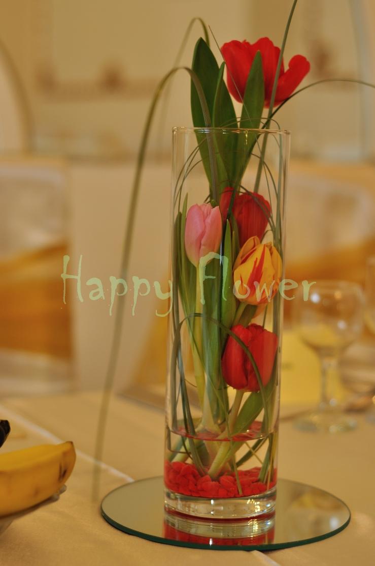 Aranjament De Masa Nunta Cu Lalele Colorate Happy Flower