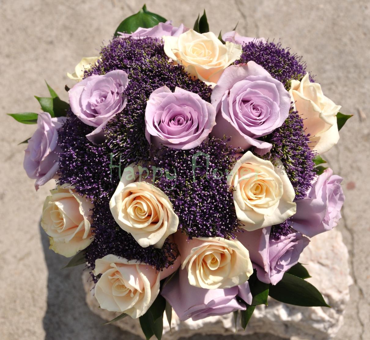 Buchet Mireasa Trandafiri Mov Si Crem Trachelium Mov Happy Flower