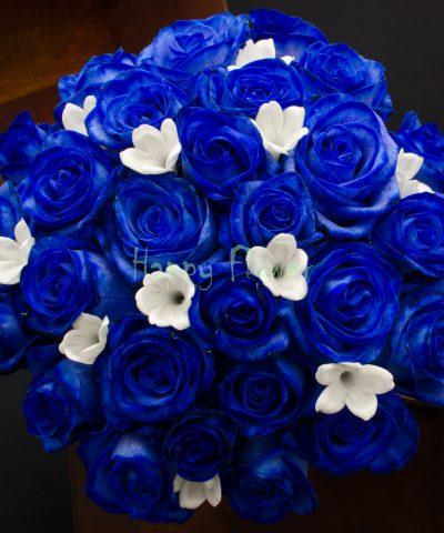 Buchet mireasa trandafiri albastri si Stephanotis