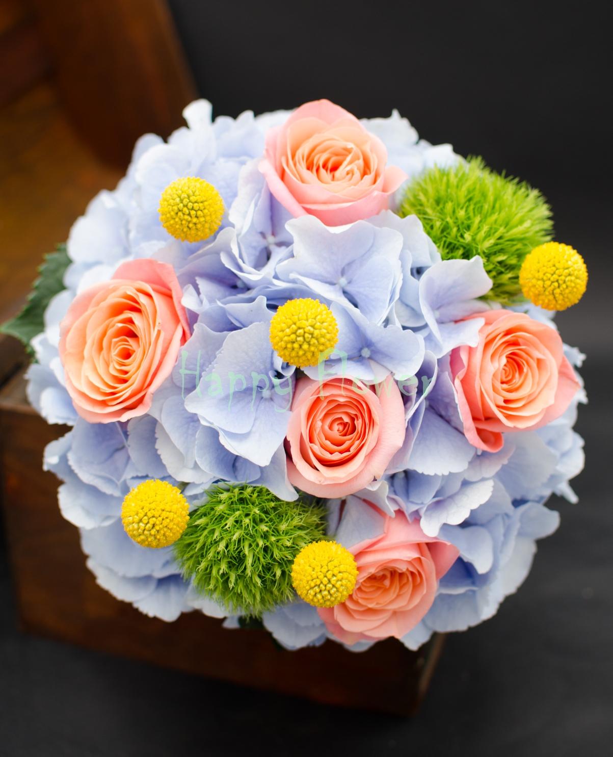 Buchet Mireasa Hortensii Bleu Trandafiri Somon Craspedii Garoafe