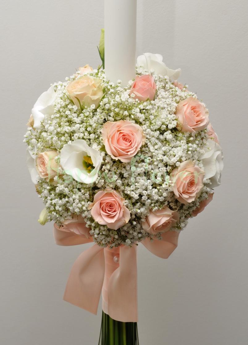 Lumanare Glob Floarea Miresei Miniroze Roz Si Lisianthus Alb