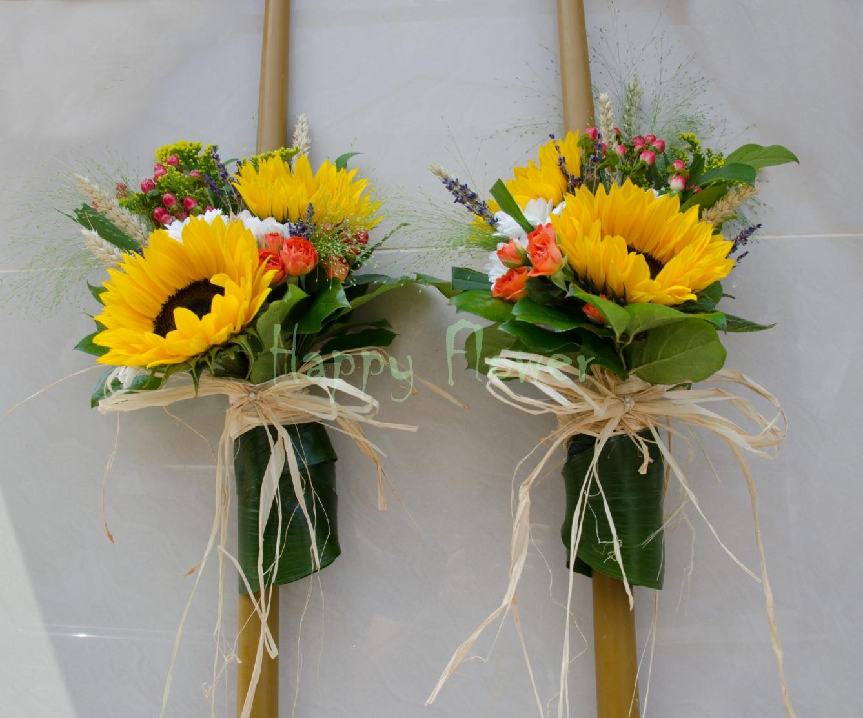 Lumanari Din Ceara Naturala Cu Floarea Soarelui Si Flori De Camp