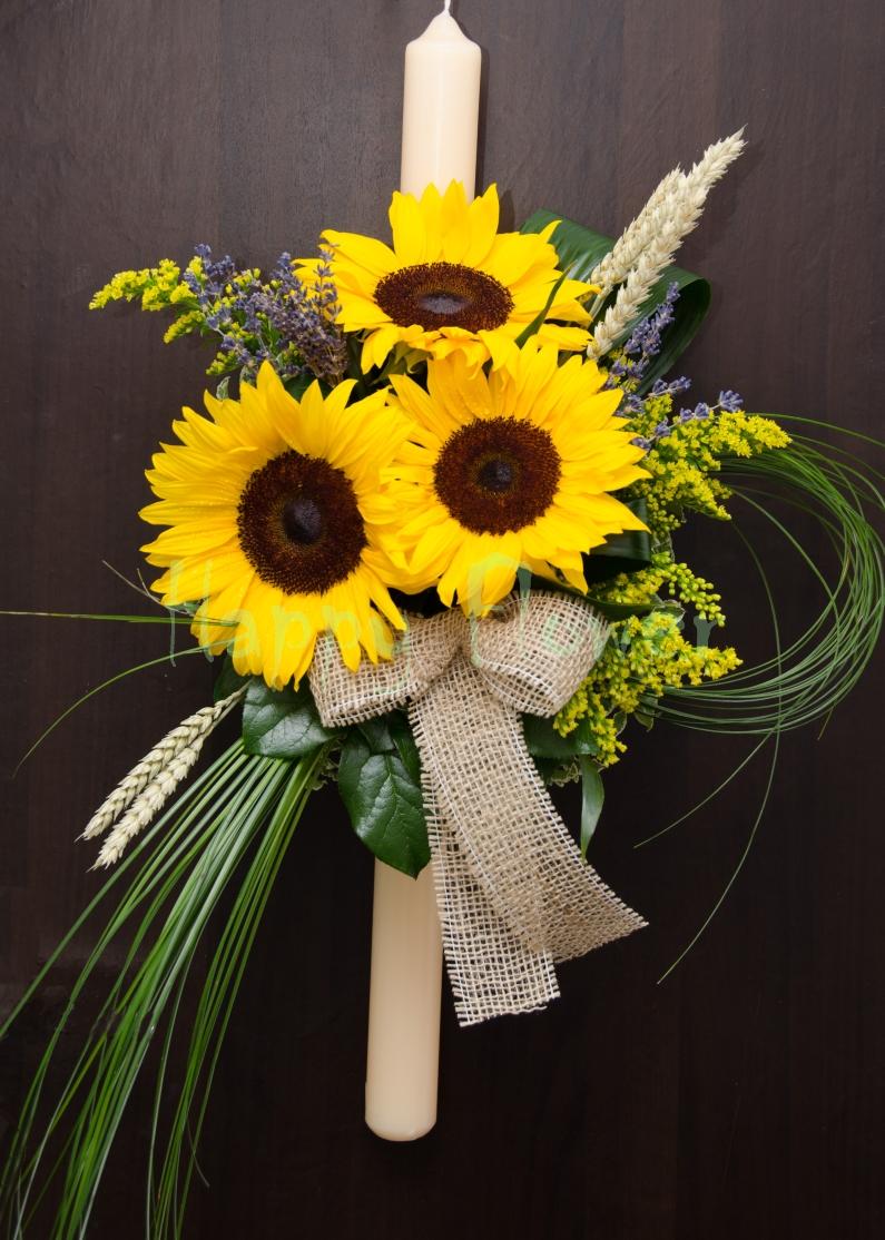 Lumanare Botez Floarea Soarelui Si Spice De Grau Levantica Happy
