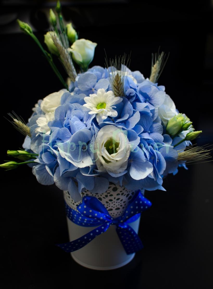 Aranjament De Nuntabotez Din Hortensii Bleu Si Lisiantus Alb
