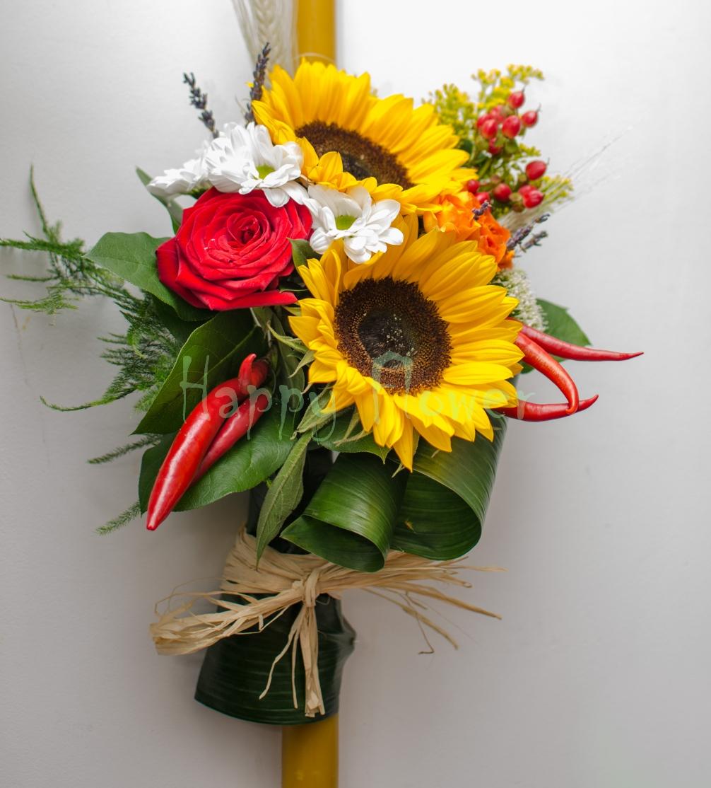 Lumanare Botez Ceara Naturala Cu Floarea Soarelui Happy Flower