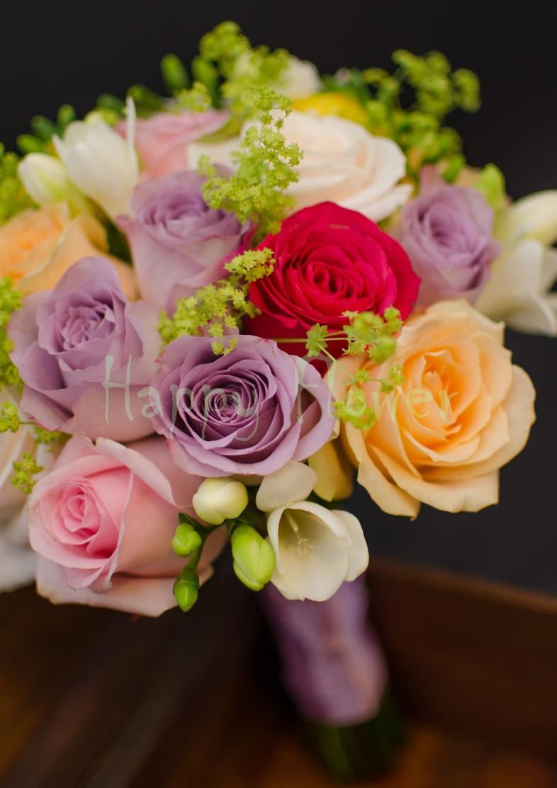 Buchet De Mireasa Cununie Civila Din Trandafiri Colorati Happy