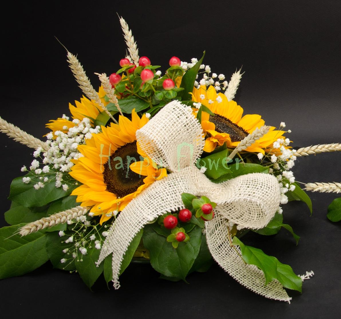 Aranjamente De Masa Cu Floarea Soarelui Si Spice De Grau Happy