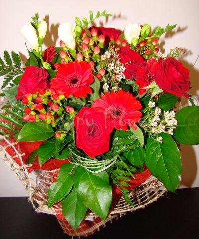 buchet-trandafiri-rosii-minigerbera-rosie-frezii-albe-verdeata