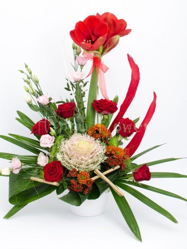 aranjament floral trandafiri rosii si ammaryllis