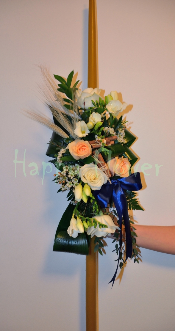 Lumanare Botez Ceara Naturala Happy Flower Florarie Online