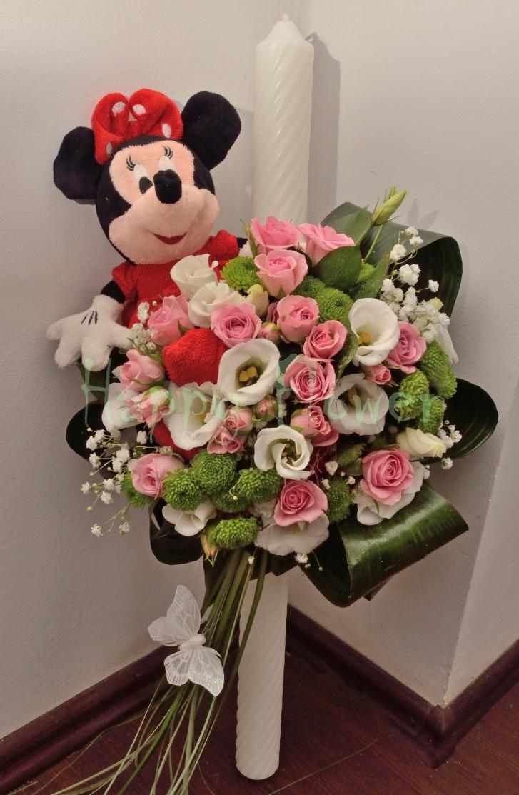Lumanare De Botez Cu Minnie Mouse Happy Flower Florarie Online