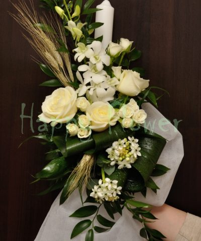 lumanare-botez-flori-albe-trandafiri-orhidee-miniroze