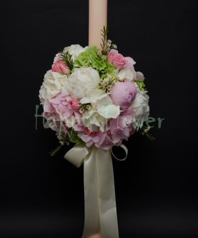 lumanare-botez-flori-pastel-hortensii-bujori-miniroze