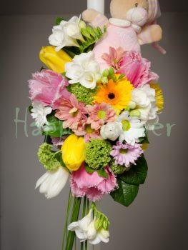 lumanare-botez-flori-primavara-si-ursulet