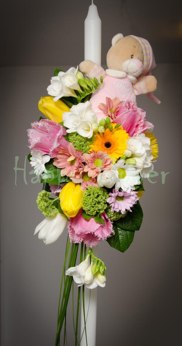 Lumanare Botez Flori Primavara Si Ursulet Happy Flower Florarie
