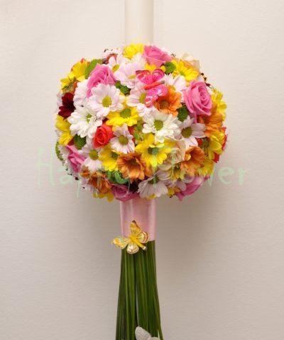 lumanare-botez-glob-crizanteme-si-trandafiri-fluturasi-capsune