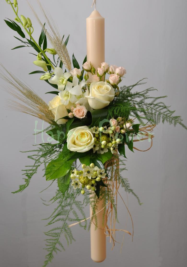 lumanare-botez-ivoire-miniroze-trandafiri-ornitogalum