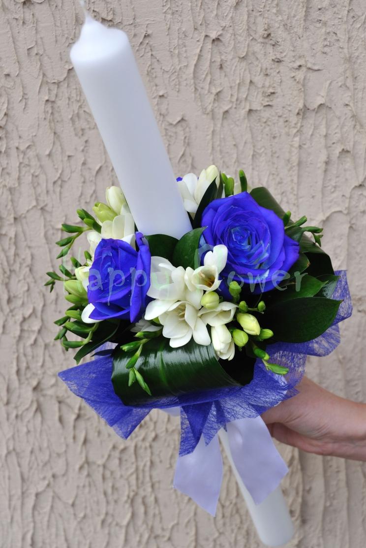 Lumanare Botez Baiat Trandafiri Albastri Si Frezii Albe Happy