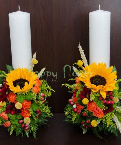 Lumanari scurte nunta floarea soarelui si flori de camp.