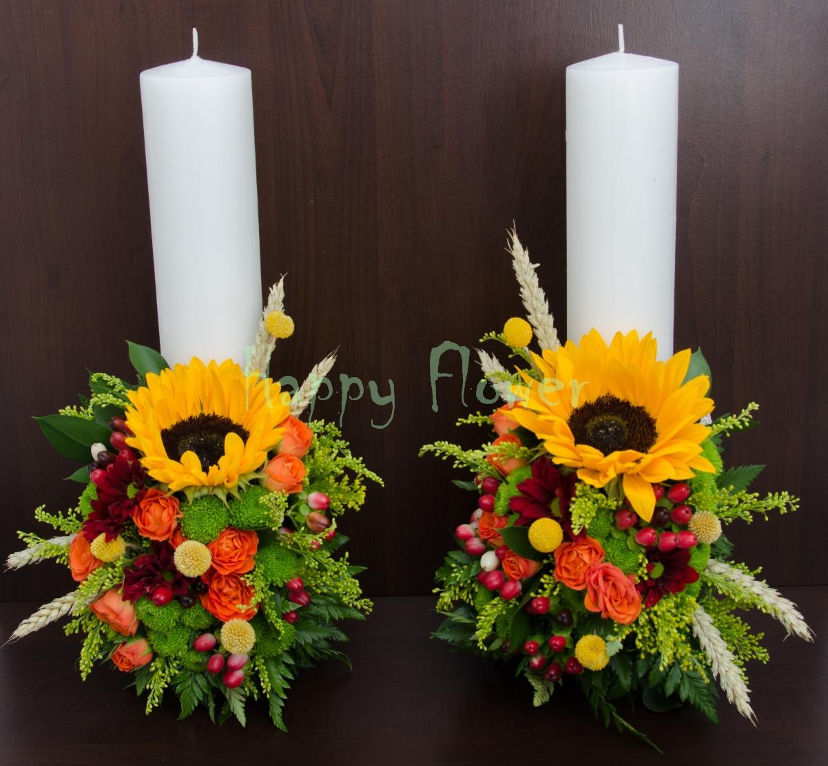 Lumanari Scurte Nunta Floarea Soarelui Si Flori De Camp Happy