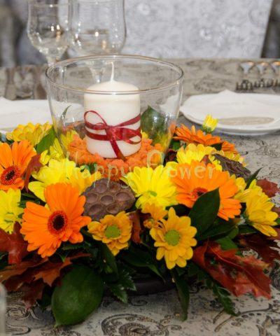 Aranjament nunta crizanteme toamna, minigerbera, lumanare