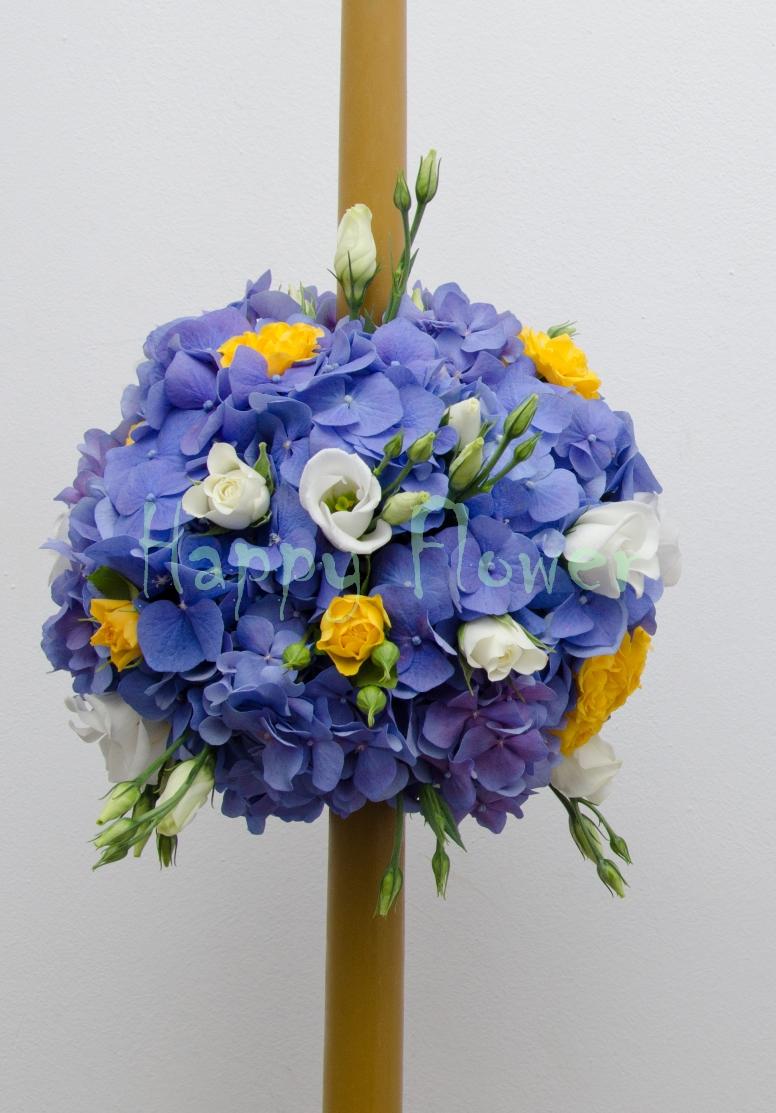 Lumanari Nunta Sfera Hortensii Ceara Naturala Happy Flower