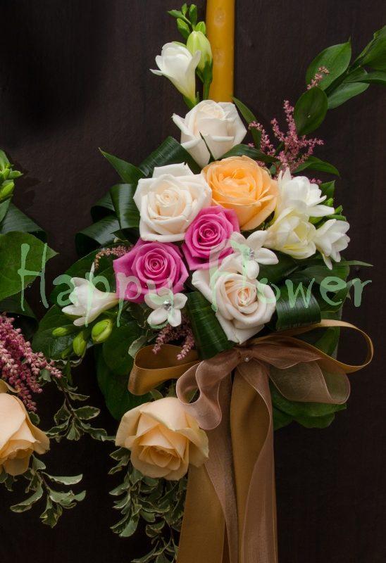 Lumanare ceara naturala trandafiri pastel