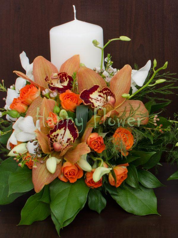 Lumanari nunta scurte orhidee caramizie si miniroze portocalii