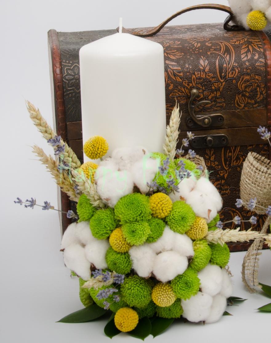 Lumanari nunta scurte santini verde, bumbac, craspedia, spice de grau