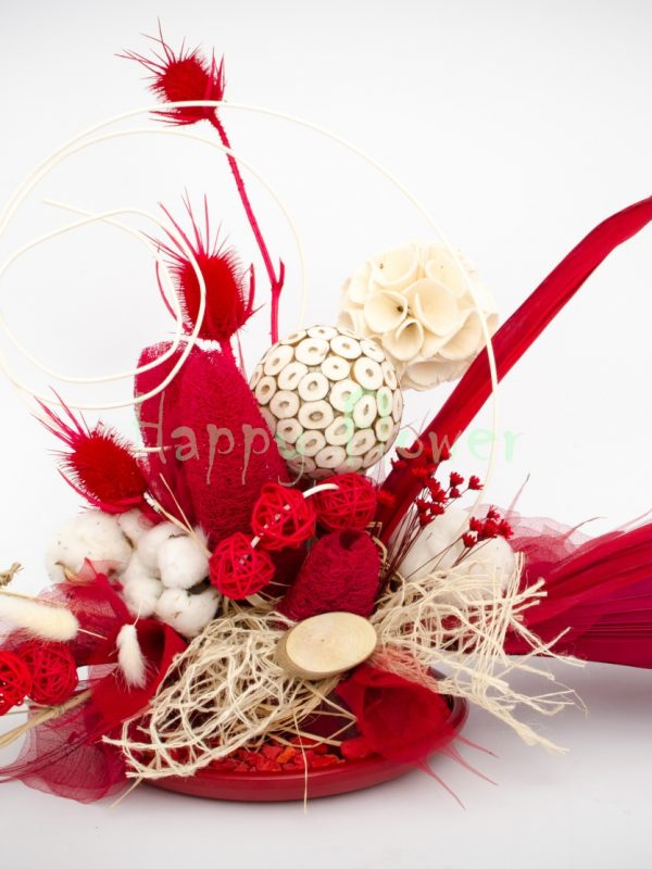 Aranjament flori uscate alb rosu