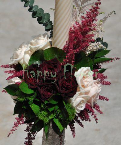 Lumanari nunta sfera flori grupate, astilbe, trandafiri, dantela