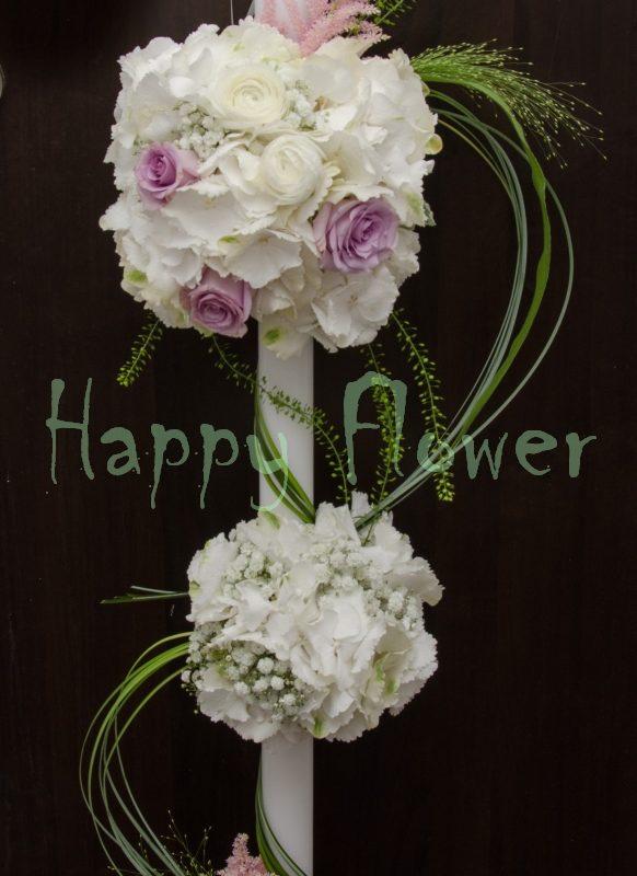 Lumanare nunta spirala hortensii albe, trandafiri lila, astilbe