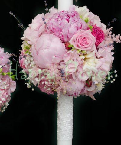 Lumanari 60 cm sfera hortensii si bujori, trandafiri, levantica