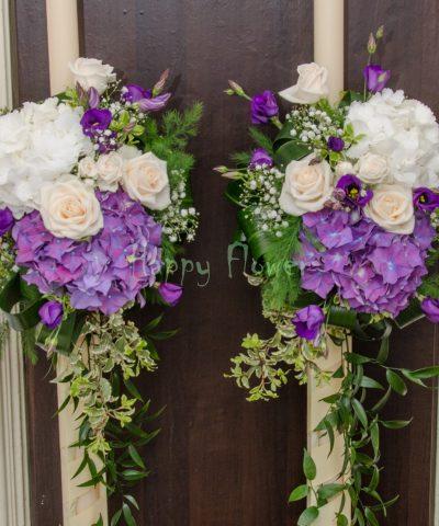 Lumanari nunta hortensii mov si albe, trandafiri crem